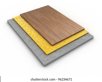 Illustration of components of a floor from different layers