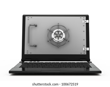 illustration of computer and information security. notebook safe deposit box with a closed door