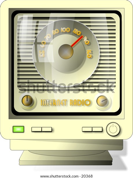Illustration of a computer monitor with an old fashioned radio on the screen.