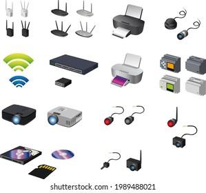 Illustration von Computernetzgeräten und industrieller Automatisierung