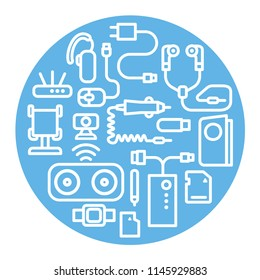 illustration of concept accessories icons for mobile phone devices