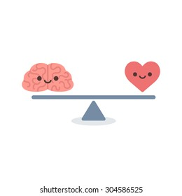 Illustration of the concept of balance between logic and emotion. Cartoon brain and heart with cute faces on a scale. Simple and modern flat style, isolated on white background.