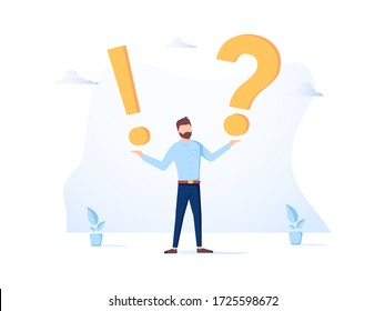 Illustration, concept illustration of frequently asked questions of exclamation marks and question marks, metaphor question answer. Man Ask Questions and receive Answers. Online Support, FAQ
