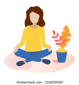 illustration, the concept of meditation, the girl sits in the lotus position. Raster version.