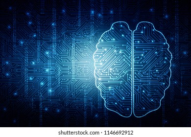 illustration Concept of thinking, background with brain, Abstract Artificial intelligence. Technology web background