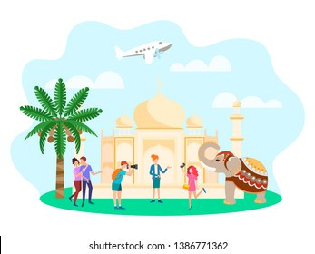 Illustration of the concept of Travel around the world, tourists excursion near the Taj Mahal, photographed with an elephant.