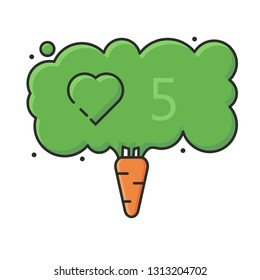 illustration concept vegan carrot and social network like icon with counter numerals