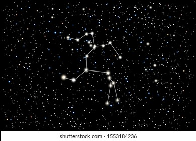 Illustration of the constellation Centaurus (Centaur) on a starry black sky background. The astronomical cluster of stars in the Southern Celestial Hemisphere