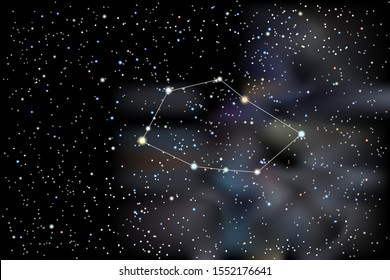 Illustration of the constellation Vela (Sails) on a starry black sky background. The astronomical cluster of stars in the Southern Celestial Hemisphere and in the milky way