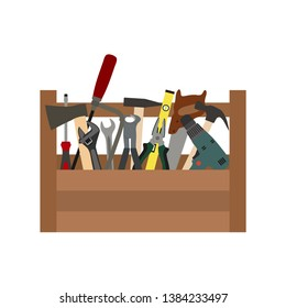 illustration of a construction box with tools on a white background