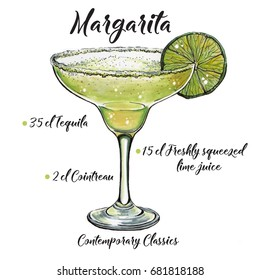 illustration of Contemporary Classics  Cocktail Margarita. Hand-drawn