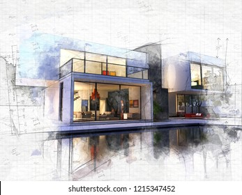 Illustration of  contemporary house with pool at dusk 3D rendering