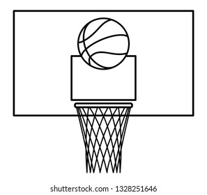 Illustration of the contour basketball ball and backboard