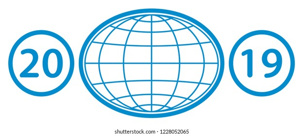 Illustration of the contour globe and 2019 New Year numeration