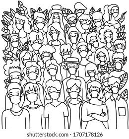 Illustration, Coronavirus . Novel coronavirus (2019-nCoV),Group of people wearing medical masks to prevent disease,. Concept of coronavirus quarantine