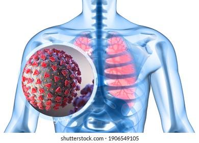 Illustration of Coronavirus is a pathogen that attacks respiratory tract. 3D illustration