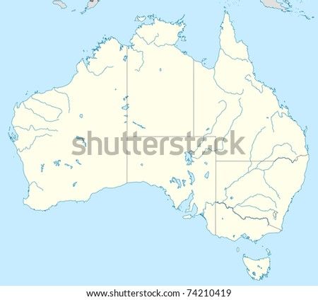 Map Showing Australia.Illustration Country Australia Map Showing State Stock Illustration