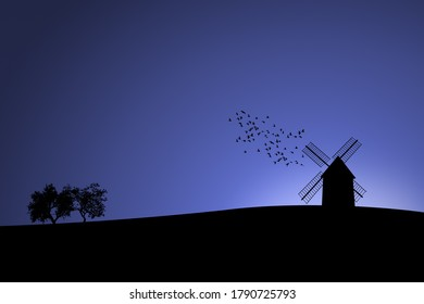 Illustration of a countryside landscape at the time of the blue hour. Windmill on a hill with trees and birds