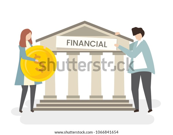 Illustration of a couple at the bank