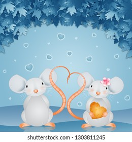 an illustration of a couple of mice with hearts