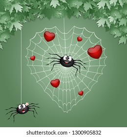 illustration of a couple of spiders in love