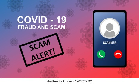 Illustration of Covid-19 fraud and scam alert.