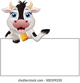 illustration of Cow cartoon with blank sign