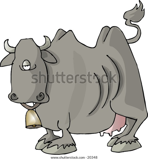 Illustration of a cow from the side.