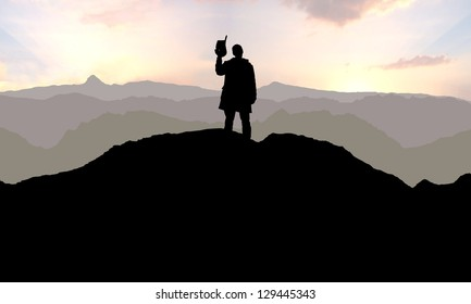 Illustration of a Cowboy alone on a mountain top