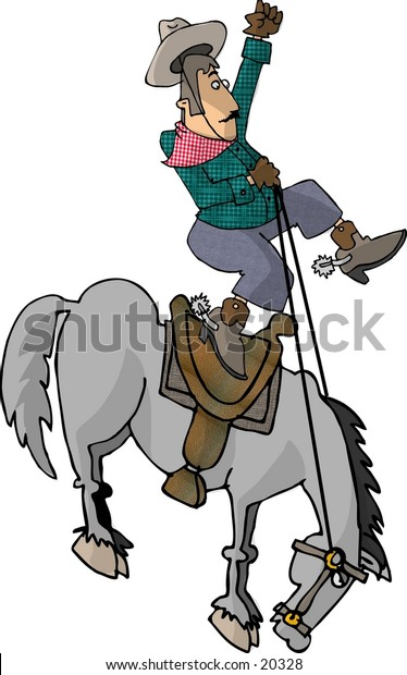 Illustration of a cowboy being bucked off of a horse.