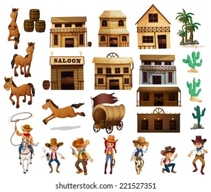 Illustration of cowboys and buildings