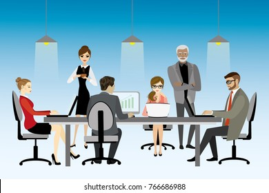 illustration of coworking center concept, people working together and shared working environment