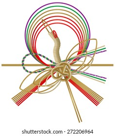 Illustration of crane's Japanese paper strings.(Mizuhiki) / Decorative Japanese cord made from twisted paper. Mizuhiki is a decorative cord that is tied around the gift or an envelope.