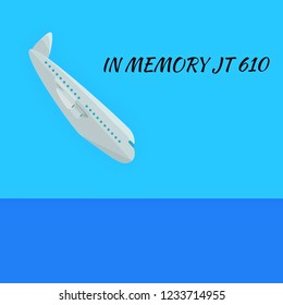 Illustration of crashed aircraft at the sea with words in memory JT 610.