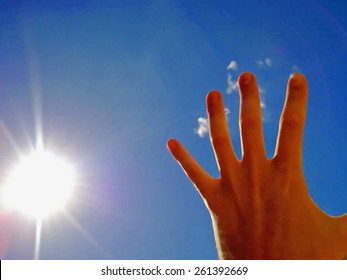 Illustration created of a Hand blocking the sun, created by using median noise reduction