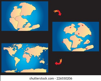 illustration of creation of the continents