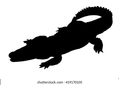 illustration with crocodile silhouettes isolated on white background