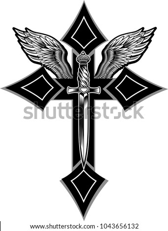 Illustration Of Cross And Wings