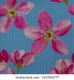Illustration. Cross-stitch. Apple flowers. Texture of flowers. Seamless pattern for continuous replicate. Floral background, collage.