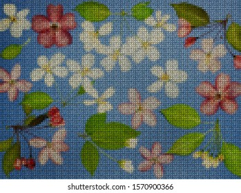 Illustration. Cross-stitch bouquet of flowers. Wildflowers. Apple flowers. Floral background, collage.  Flowers texture. Cross-stitching rustic, country style.