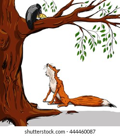 Illustration of crow with the cheese and the fox. Cartoon from a fable on white background