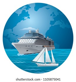illustration of cruise ship and luxury yacht around the world travel