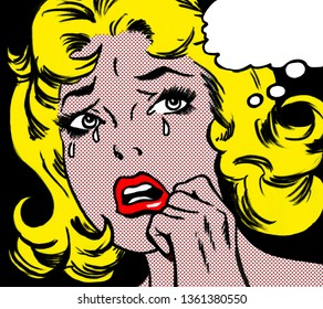 illustration of a crying woman in the style of 60s comic books, pop art