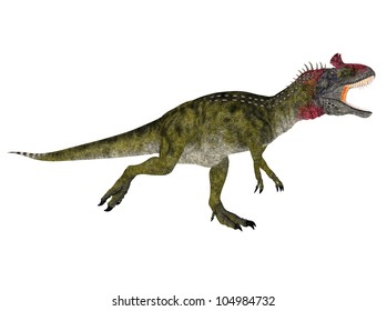 Illustration of a Cryolophosaurus (dinosaur species) isolated on a white background