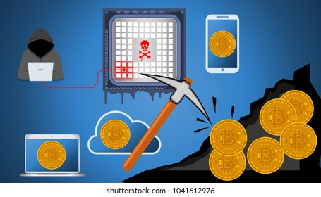 Illustration of crypto mining malware and cryptojacking. Worldwide been exploited by malware that harnesses visitors' computers to mine cryptocurrency.