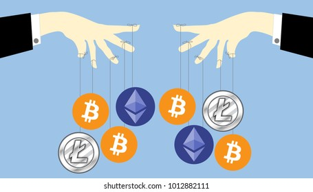 Illustration of cryptocurrency ponzi scheme. Crypto currency manipulation concept. Hand hold strings for manipulating bitcoins, ethereum and litecoin market share and price.