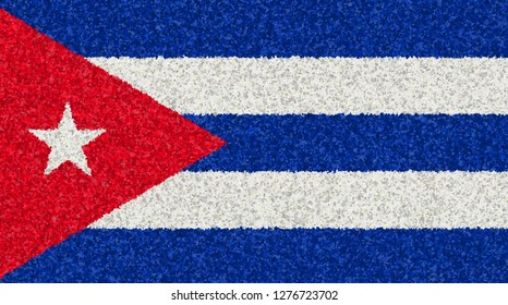 Illustration of a Cuban flag with a blossom pattern
