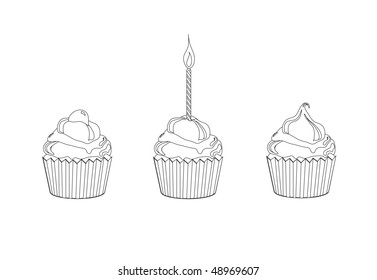 An illustration of cupcakes. Children's activity page.