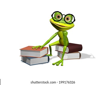 illustration curious frog in glasses with a books