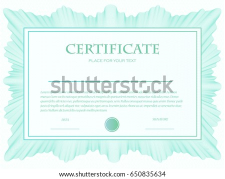 Illustration Custom Certificate Template Guilloche Stock